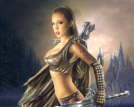 The Warrior - fighter, woman, sword, castle, beauty