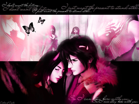 Rinoa Heartilly and Squall Leonhart - rinoa, heartilly, pink, game, squall, anime, final fantasy, leonhart, wallpaper, ff, love