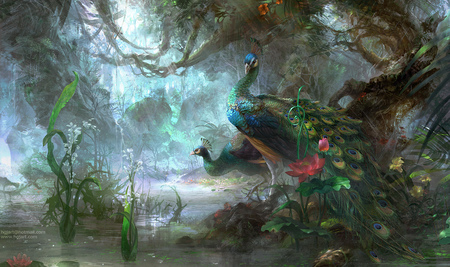 Peacocks - flowers, peacock, bird, beautiful, art, forest, peacocks, fantasy