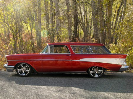 57' Chevy Nomad - chevrolet, 1957, nomad, hotrod, rod, white, custom, hot, red, chevy, 57