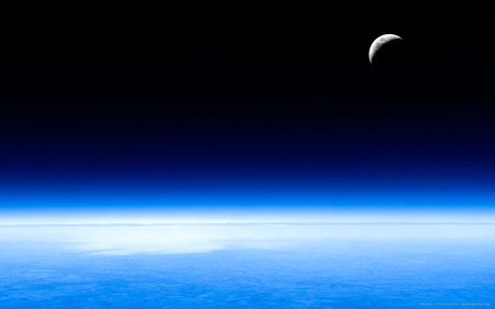Lunaria - high resolution, earth, widescreen, beautiful, moon, crescent, space