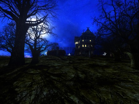 haunted house 3 - dark, trees, sky, house, blue, fantasy, haunted house, night