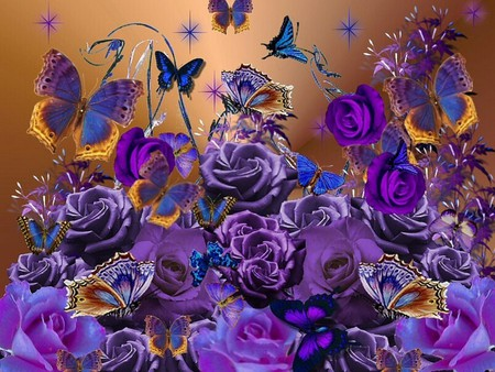 PURPLE ROSES AND BUTTERFLIES - flowers, purple, roses, butterflies, blue