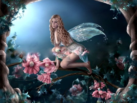 ENCHANTED FLOWER FAIRY - female, wings, flower, fairy, tree, fantasy, enchanted