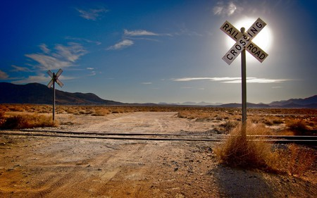 Railroad Crossing - railroad, desert, railroad crossing, tracks