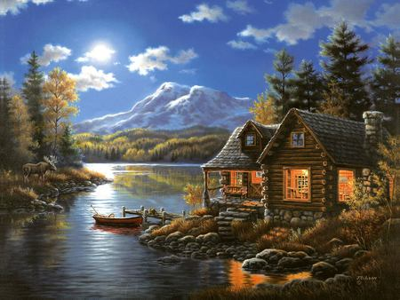 Judy Gibson - judy gibson, boat, river, house, painting, mountain, art, tree