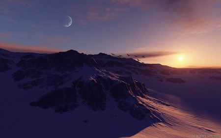 Winter in mountain - mountain, winter, sunset, snow