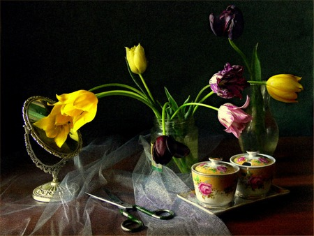 Delicates - tray, flowers, sugar bowl, creamer, tulips, vase, table, still life, mirror, scissors, china