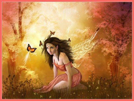 FAIRY & BUTTERFLIES - female, wings, flowers, fairy, butterflies, forest