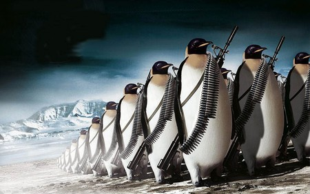 penguin war - funny, cold, guns, war, ammo, animal, humor