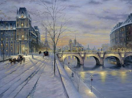 Winter In Paris - paris, bridge, river, snow