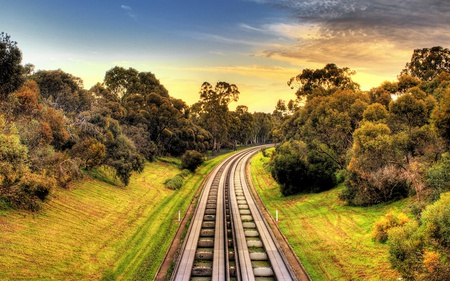 railroad - green, railroad, trees, train, sky, beauty, tracks, photography, clouds, nature