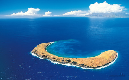 Beautiful Island - clouds, blue, island, beautiful, iland, sky, ocean, nature