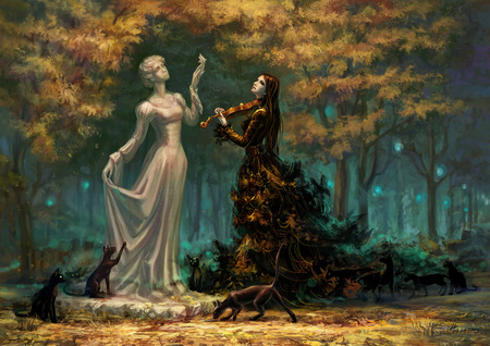 Muse - 3d, image, goth, colour, nymph, forest, cg, trees, gothic, girl, violin, cats, statue, picture, white, digital, woman, sad, abstract, black, dress, pic, art, artwork, dogs, music, color