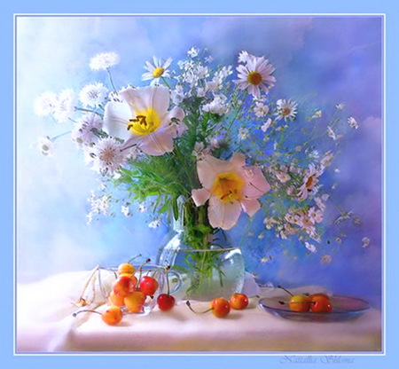 Some flowers for Tammy - leaves, blue background, flowers, pink, white, vase, table