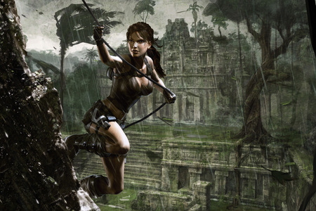 Underworld - adventure, lara croft, video game, rain, female, girl, tomb raider, action, underworld, fantasy