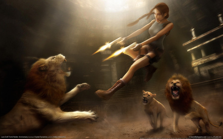 Lara Croft - adventure, lara croft, lion, video game, anniversary, gun, tomb raider, action, fire, fantasy