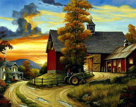 Dinnertime - trees, road, barns, houses, barn, man, clouds, fence, farm, tractor, grasses