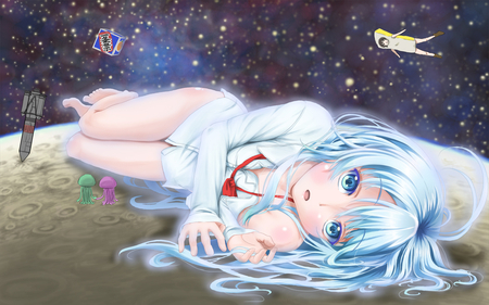vocaloid - miku hatsune, blue hair, blush, stars, aqua eyes, aqua