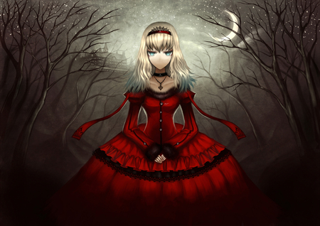 Alice in Wonderland - moon, alice in wonderland, alone, dark, night, anime girl, red dress, hold hand, alice, fear, close eyes, blonda hair, female
