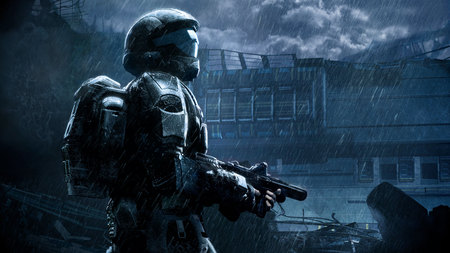Halo 3: ODST - halo, halo 3- odst, dark, hd, mission, video game, adventure, rain, odst, weapon, action