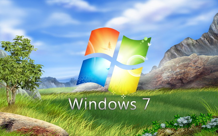 Windows 7 - 7, computer, tehnology, sky, windows 7, grass, nature, microsoft