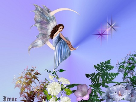 ABOVE AND BELOW - wings, flowers, colorful, moon, fairy