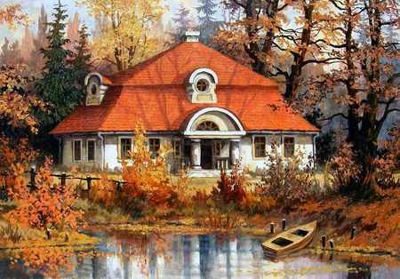 Stanislaw Wilk - stanislaw wilk, painting, nature, art, tree, cottage