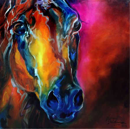 Allure Arabian Abstract by Marcia Baldwin - marcia baldwin, horse, equine, colorful
