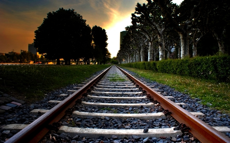 Railroad Tracks - track, railroad, trees, sunset, alley