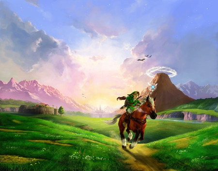 Link riding Epona - hyrule, epona, the legend of zelda, zelda, link, awesome