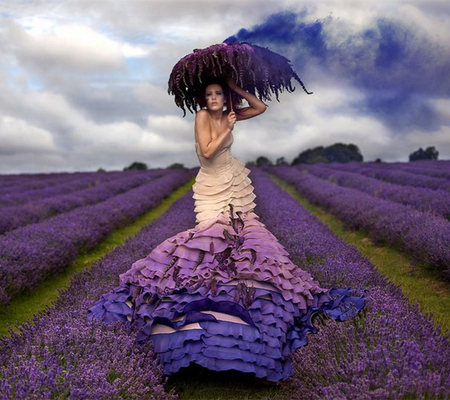 Lavender - lavender, alone, field, pretty, beauty, female, girl, sensual, flower, photography, lady, relaxing, umbrella, dress