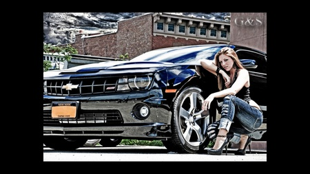2010 Camaro And Hottie - cool, heels, cars, hottie, model, 2010, brunette, girl, jeans, hot rod, hot, camaro, red, red head, chevy, redhead