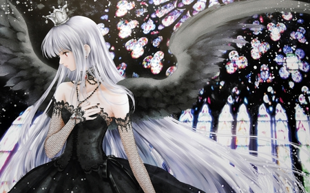 alone (original) - wings, alone, sorrow, crown, black dress, beauty, anime, girl, glass window, hope, whit hair, sad