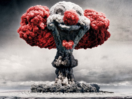 clown bomb explosion - smoke, funny, photoshop, nuclear, explosion, atom bomb, clown