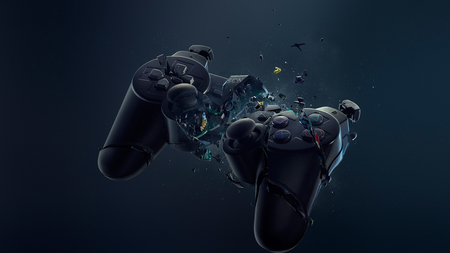 Broken Ps3 Controller - smashed, abstract, ps3, controller