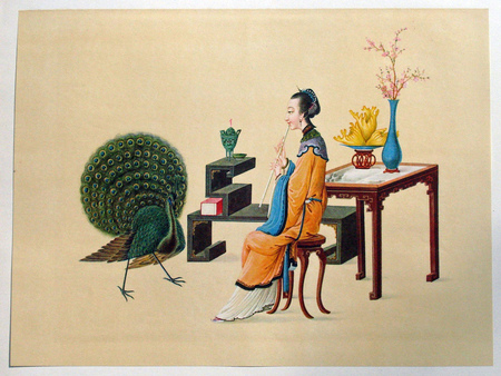 Chinese painting - flowers, femeie, peacock, pictura chineza, whistle, vase, women, masa, fluier, table, paun, chinese painting, flori, vaza