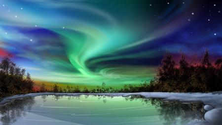 Mystical Sky - green, lake, aurora, sky, blue, ice, northern lights, light, cold, nature
