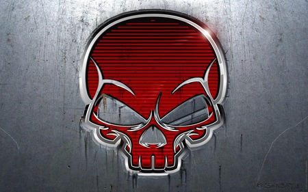 RED SKULL (METALLIC) - bones, abstract, red, skull, death, shiny, metallic, gray