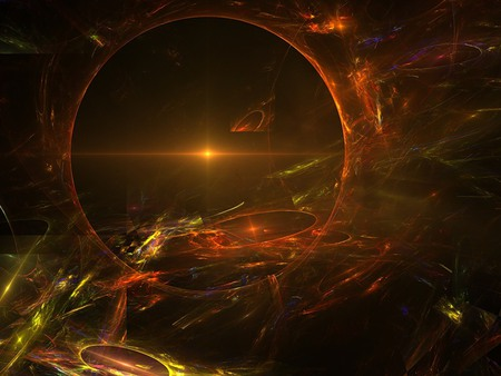 Circles of Light - purple, brown, orange, colours, red, 3d, circles, yellow