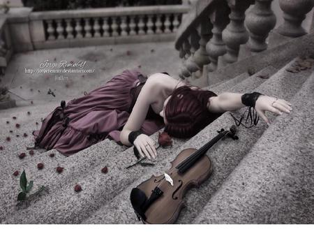 Fallen - flowers, instuments, beautiful, beauty, fall, girl, stairs, purple, flower, woman, steps, violet, red, fantasy, green, stone, colorful, colors, color, violin, roses, fallen, nature, sad