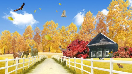 Fall at the Cabin - owl, drive, fawn, fall, autumn, log house, bunny, trees, sky, lane, colors, deer, firefox persona, leaves, clouds, eagle, fence, cabin, rabbit