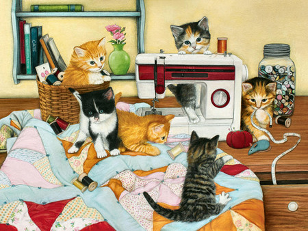 Kitten Quilting Bee F2mp - Cats & Animals Background Wallpapers on ... : quilting cats - Adamdwight.com