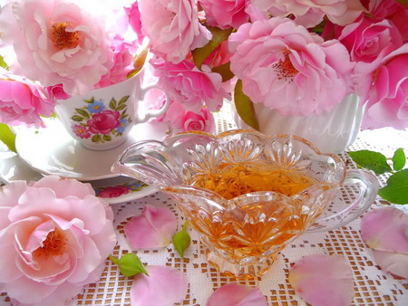 Honey & blooms for wallpapercreator - tea cup, flowers, peonies, white, rose, pink, green, honey