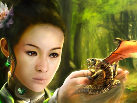 dragon - wallpaper, christian, palms, asian, fantasy, dragon