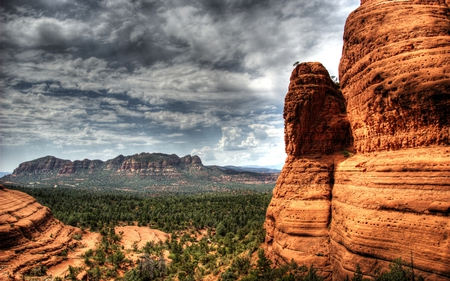 Rocks of Sedona - formations, forests, nature, cloudy, mountains, beautiful, valley, rock, cal