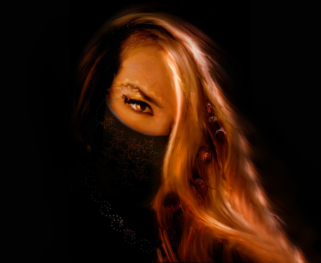 Hidden Mask - fantasy, mad, 3d, alone, dark, mask, tattoo, cg, fear, blonde, warrior, hidden mask, darkness, lady, female