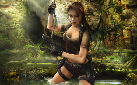 Welcome To The Jungle - video games, lara croft, games, female, gun, weapon, tomb raider, croft, legend