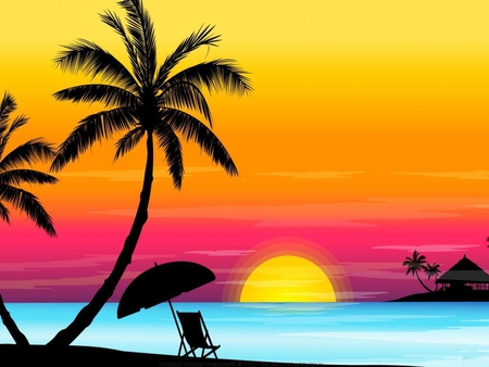 Sunset-in-the-tropics - colored, palms, sunset, sky, 3d, sun, chair, beach
