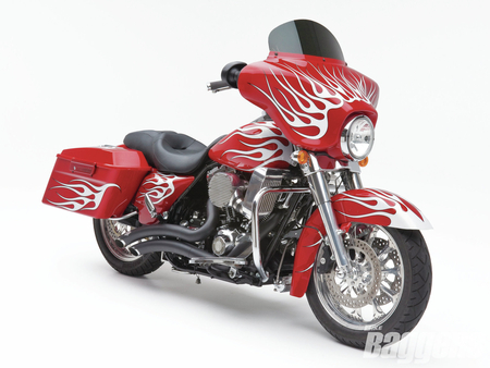 Red HD - bike, 2008, bagger, harley